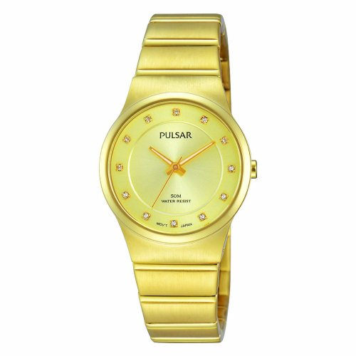 4ce5172bdee PH8170X1 €110,- Pulsar double dames horloge met swarovski steentjes.  Kastmaat 28mm. PH8170X1